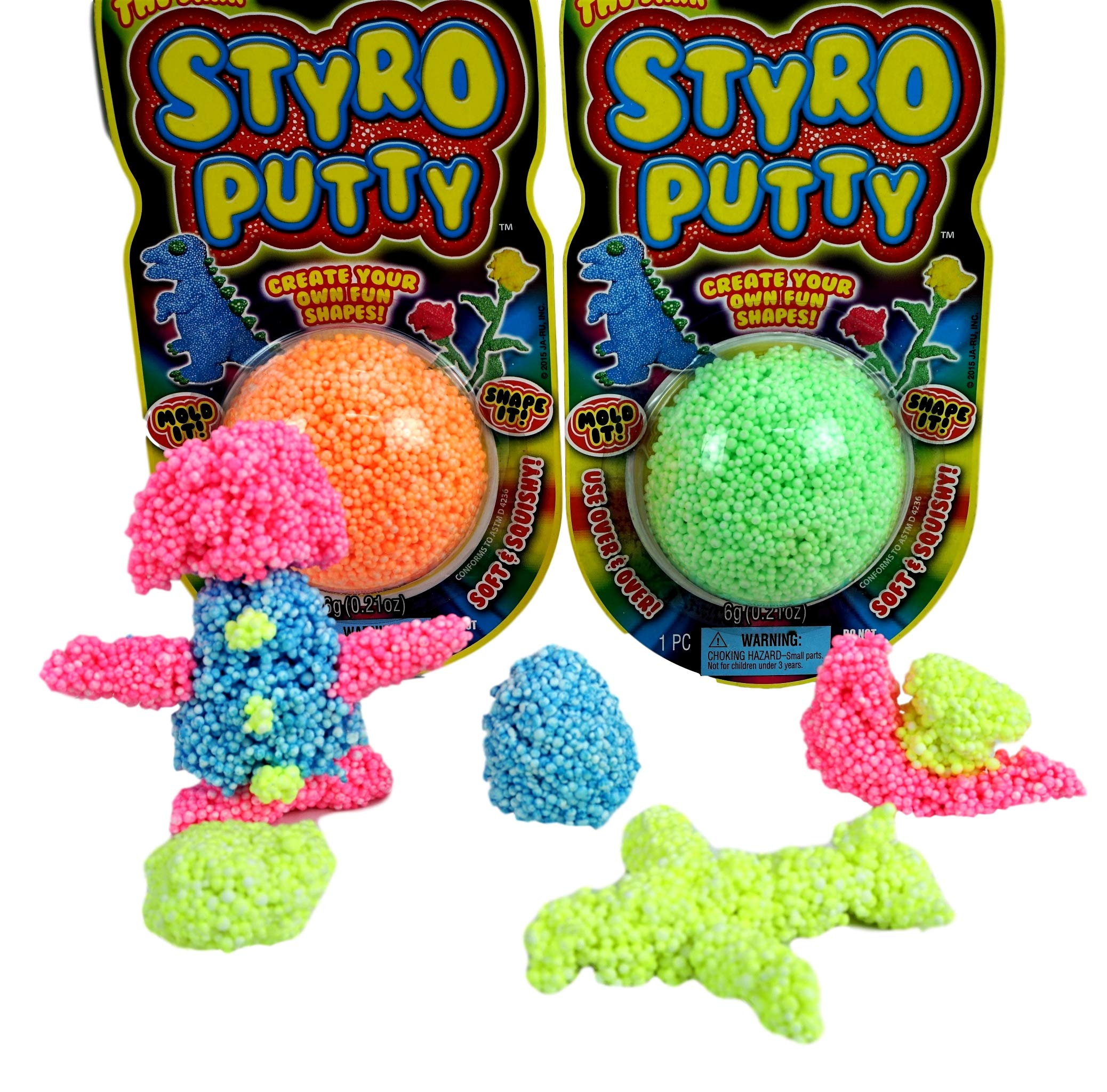 JA-RU STYRO Putty Foam Glows in The Dark (Pack of 144) Styrofoam Shapable Mold Soft and Squishy | Item #1328-144 by JA-RU (Image #4)