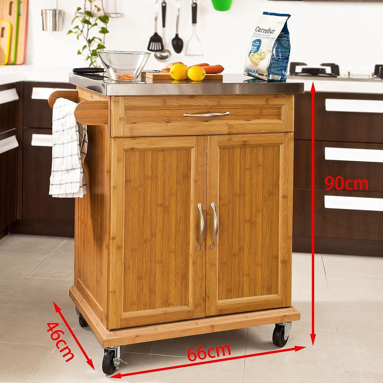 SoBuy® Luxus-Carrito de cocina con piso de acero, estantería de cocina,carrito de servir de bambú de alta calidad L66xP45xA90cm,FKW13-N,ES