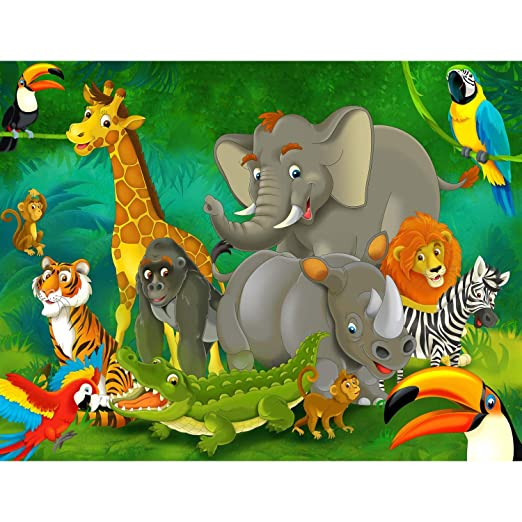 Fototapete Kinderzimmer Zoo Vlies Wand Tapete Dekoration Wandbilder XXL Moderne Wanddeko - 100% MADE IN GERMANY - Elefant Löw