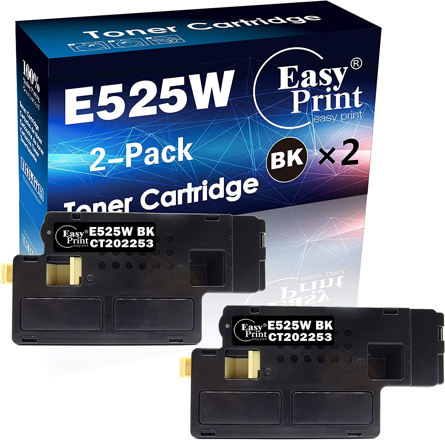 2-Pack of Black Compatible Toner Cartridge Replacement for Dell E525W E525 for Dell E525W Wireless Color Laser Printer for 593-BBJX 593-BBJU 593-BBJV 593-BBJW, Sold by EasyPrint