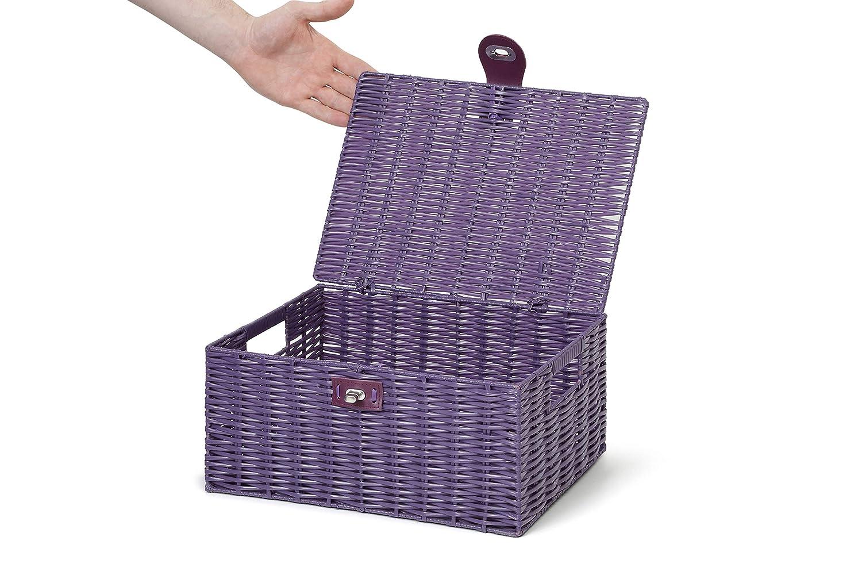 Arpan conjunto de 3 canasta-Resina Con Tapa /& Lock Blanco