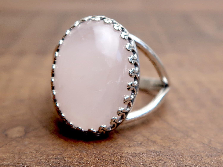 SatinCrystals Rose Quartz Ring 8-11 Boutique Pink Oval Gemstone Adjustable Metal Band B02