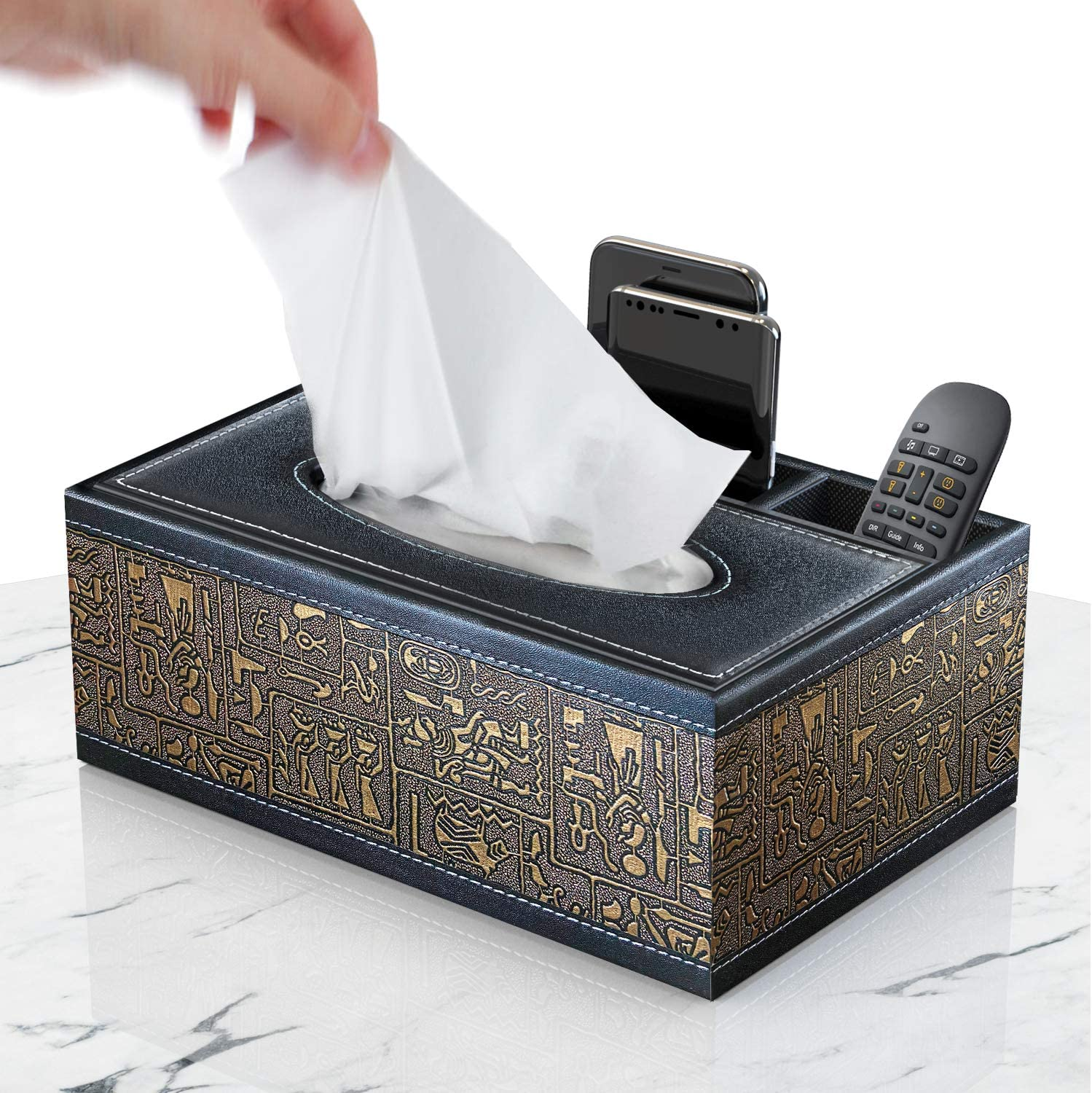 PU Leather Tissue Box Napkin Paper Case Cover Holder Storage for Car Home Office