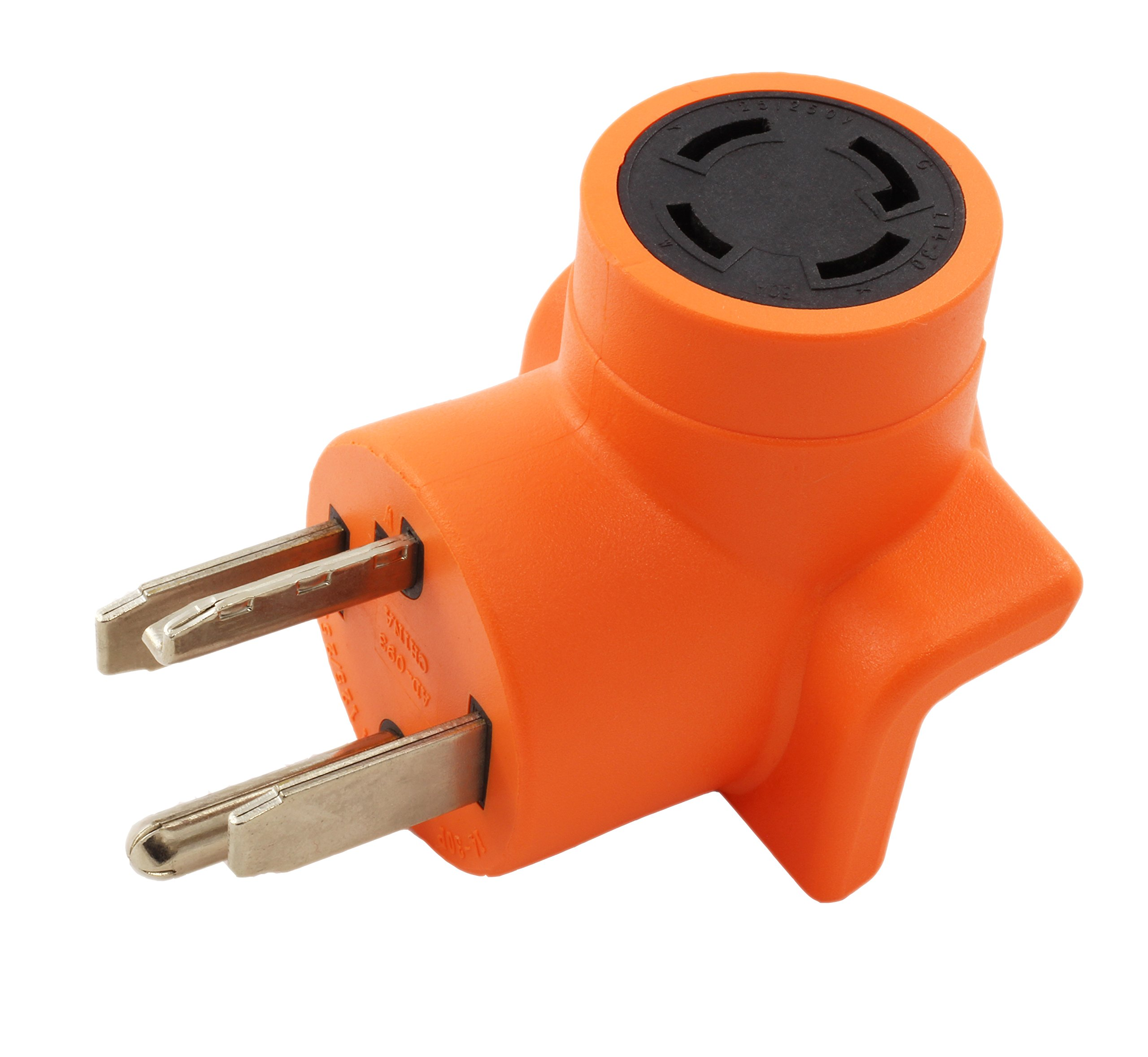 AC WORKS [AD1430L1430] Dryer Outlet Adapter 4-Prong Dryer 14-30P Plug to 4-Prong Locking 30Amp 125/250 L14-30R Adapter