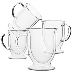 BTäT- Coffee Mug, Coffee Glass, Set of 4 (12oz, 350ml), Double Wall Glass Coffee Cups, Tea Cups, Latte Cups, Glass Coffee Mug, Beer Glasses, Latte Mug, Clear Mugs, Glass Cups, Glass Tea Mugs, Irish