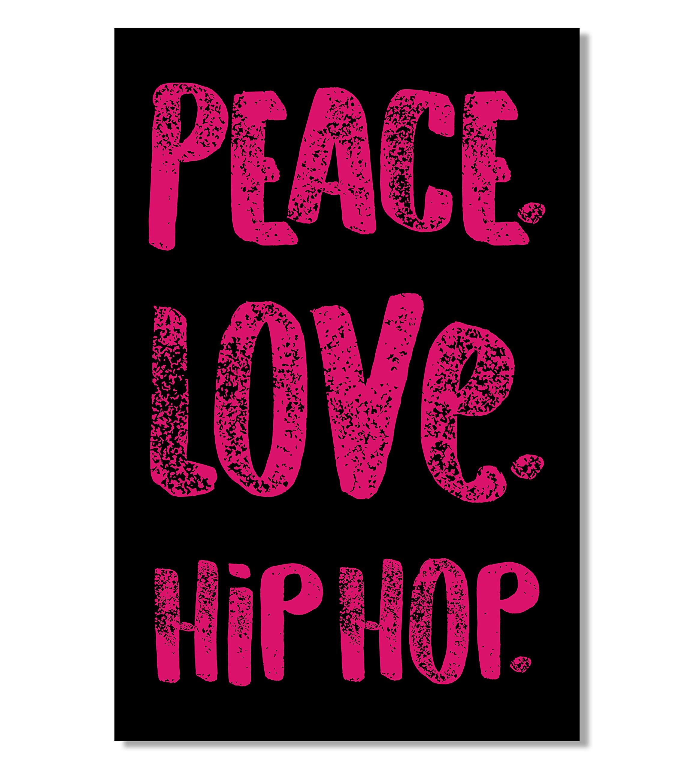 Peace Love Hip Hop Poster, 11x17 Inches, Music Wall Art Print, Artist Decoration College Dorm, Teen Dancer, Rap