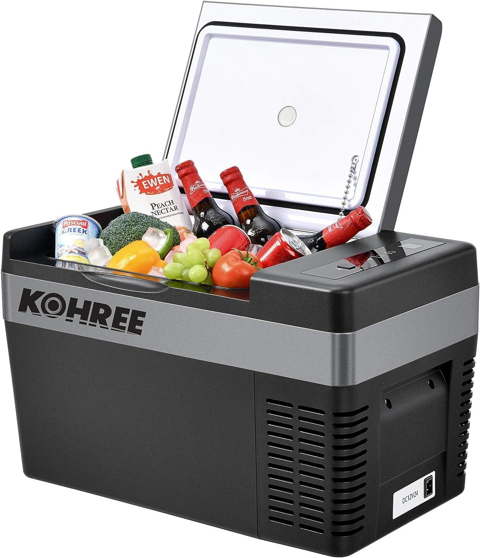 Kohree Portable Refrigerator 12 Volt Refrigerator Fast Cooling Small Freezer (-7.6℉-50℉), 26 Quart (25 Liter) Electric Coolers for Vehicles, RV, Boat, Camping and Travel-12V/24V DC and 110V/240V AC