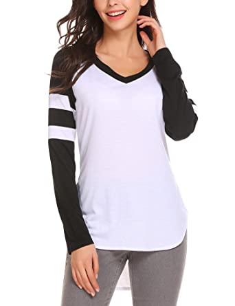 486173d4dfc58 UNibelle Women Round Neck Long Raglan Sleeve Baseball Jersey T-Shirts Black
