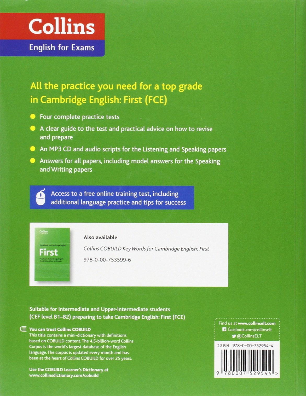 Practice tests for cambridge english first fce collins cambridge practice tests for cambridge english first fce collins cambridge english amazon peter travis 9780007529544 books yelopaper Gallery