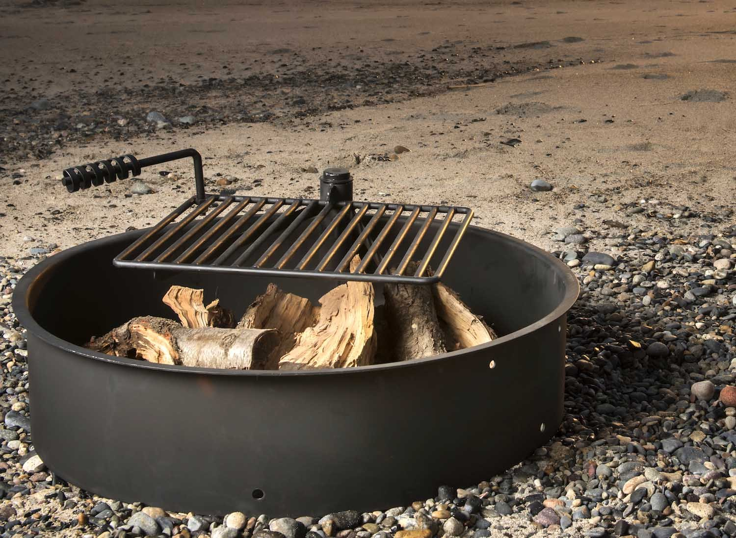 36'' Steel Fire Ring with Cooking Grate Campfire Pit Park Grill BBQ Camping Trail by Titan Outdoors (Image #2)