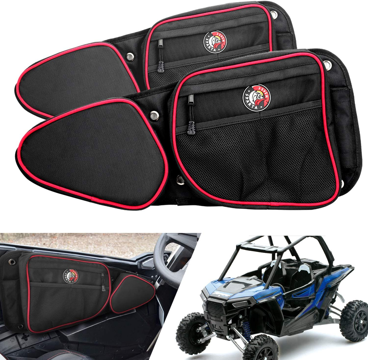 60 Wide Models Including 2014-2019 RZR XP4 1000 2015-2019 RZR 900 Doors Side Storage Bags with Knee Protection Pad for RZR Turbo Seven Sparta Door Bags for Polaris RZR 2014-2019 XP1000,RZR Turbo