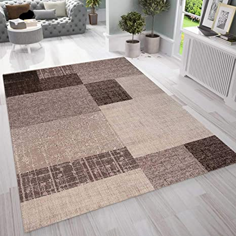VIMODA Wohnzimmer Teppich Kurzflor in Beige Braun Designer Teppiche Modern  Kachel-Optik Kariert Pflegeleicht, Maße:10x10 cm