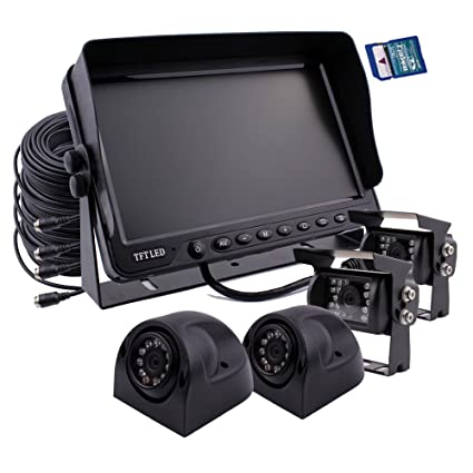 Zhiren - Sistema de cámara de seguridad para coche, monitor de 7 pulgadas, grabadora DVR integrada, ...