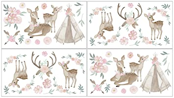 Mint Green and White Boho Watercolor Woodland Deer Floral Baby Girl Crib Bedding Set with Bumper Sweet Jojo Designs Blush Pink 9 Pieces