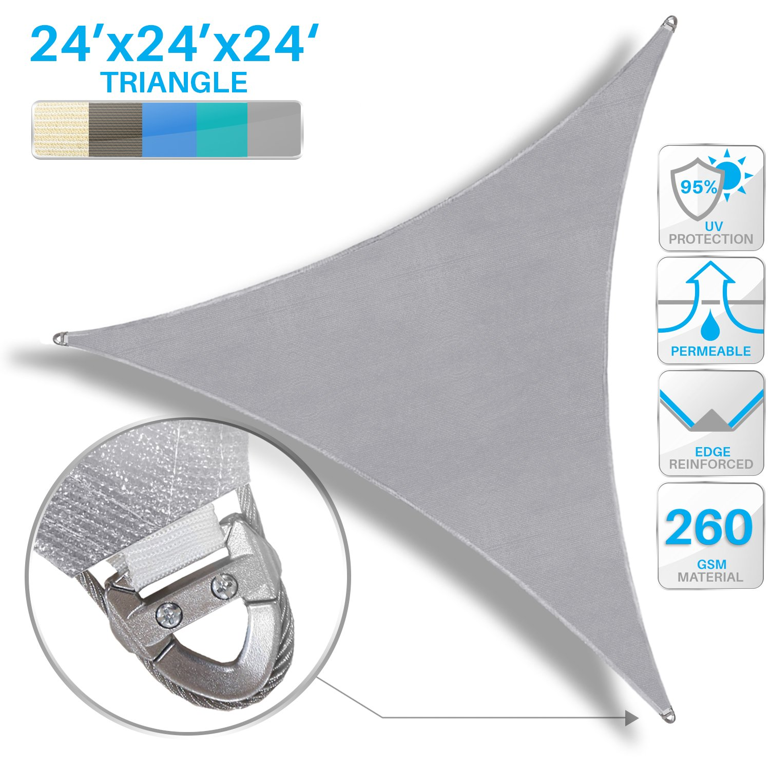 Patio Large Sun Shade Sail 24' x 24' x 24' Equilateral triangle Heavy Duty Strengthen Durable Outdoor Canopy UV Block Fabric A-Ring Design Metal Spring Reinforcement 7 Year Warranty -Light Gray by Patio Paradise