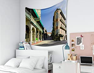 Musesh Tapestry for Father's Day, Tapestries Wall Hanging for Bedroom Living Room Decor Springs Arkansas/USA -September 2018: Historic Center and Spring Streets in Downtown 80x60 Inches Size