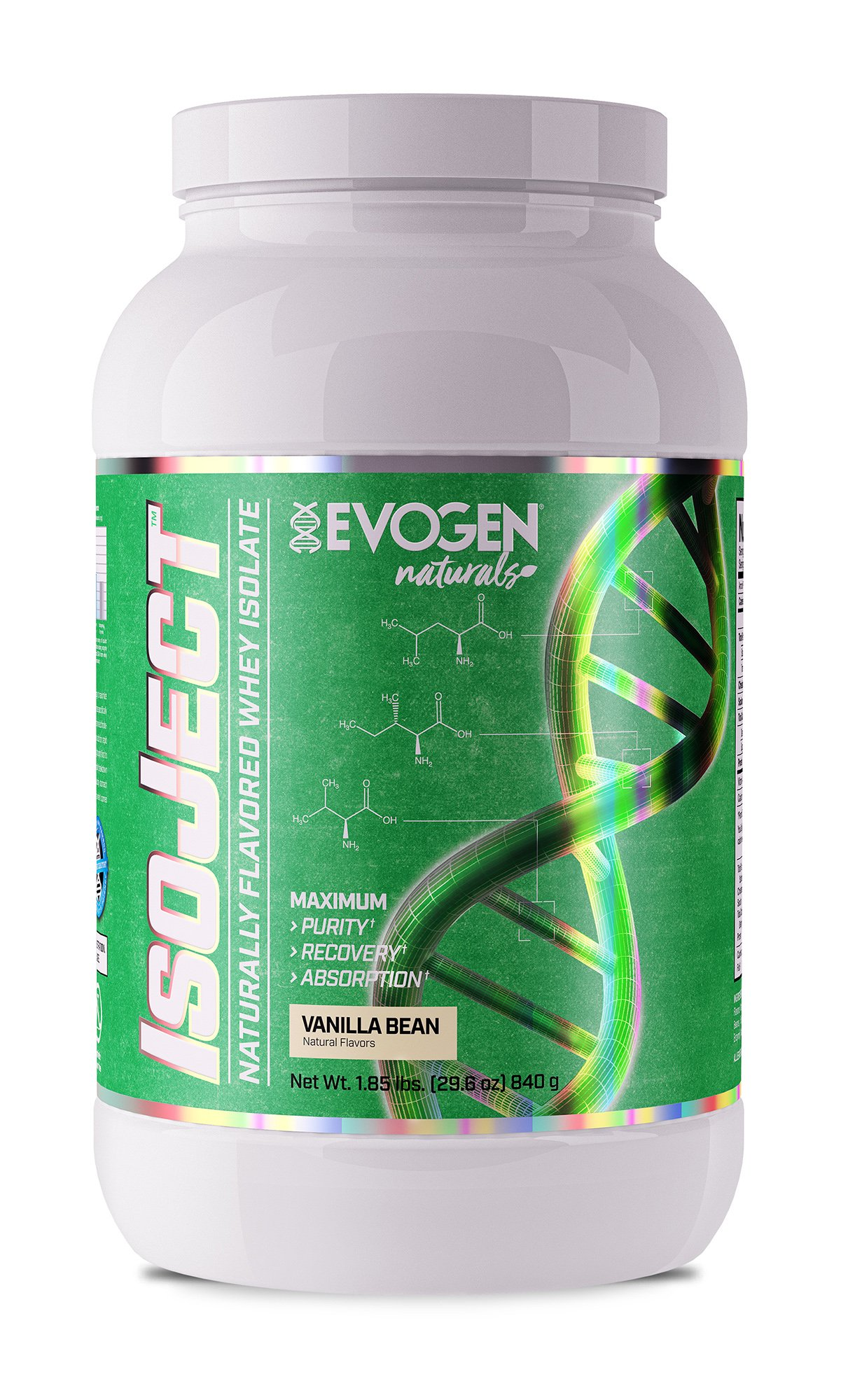EVOGEN Naturals ISOJECT, Premium Whey Isolate w/Digestive Enzymes, 28 Servings (2lbs