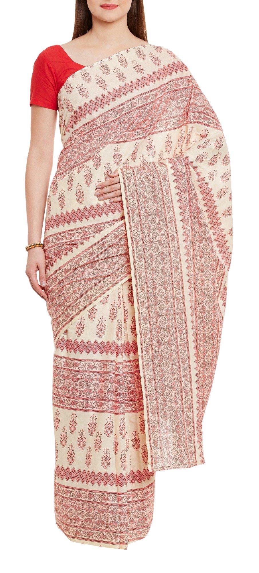 Women's Indian Warli Print Art Saree Cotton Set of 3 Sari Blouse Petticoat Skirt,W-CSR0336-5002