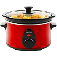 Andrew James Premium Slow Cooker with Tempered Glass Lid & Removable Bowl