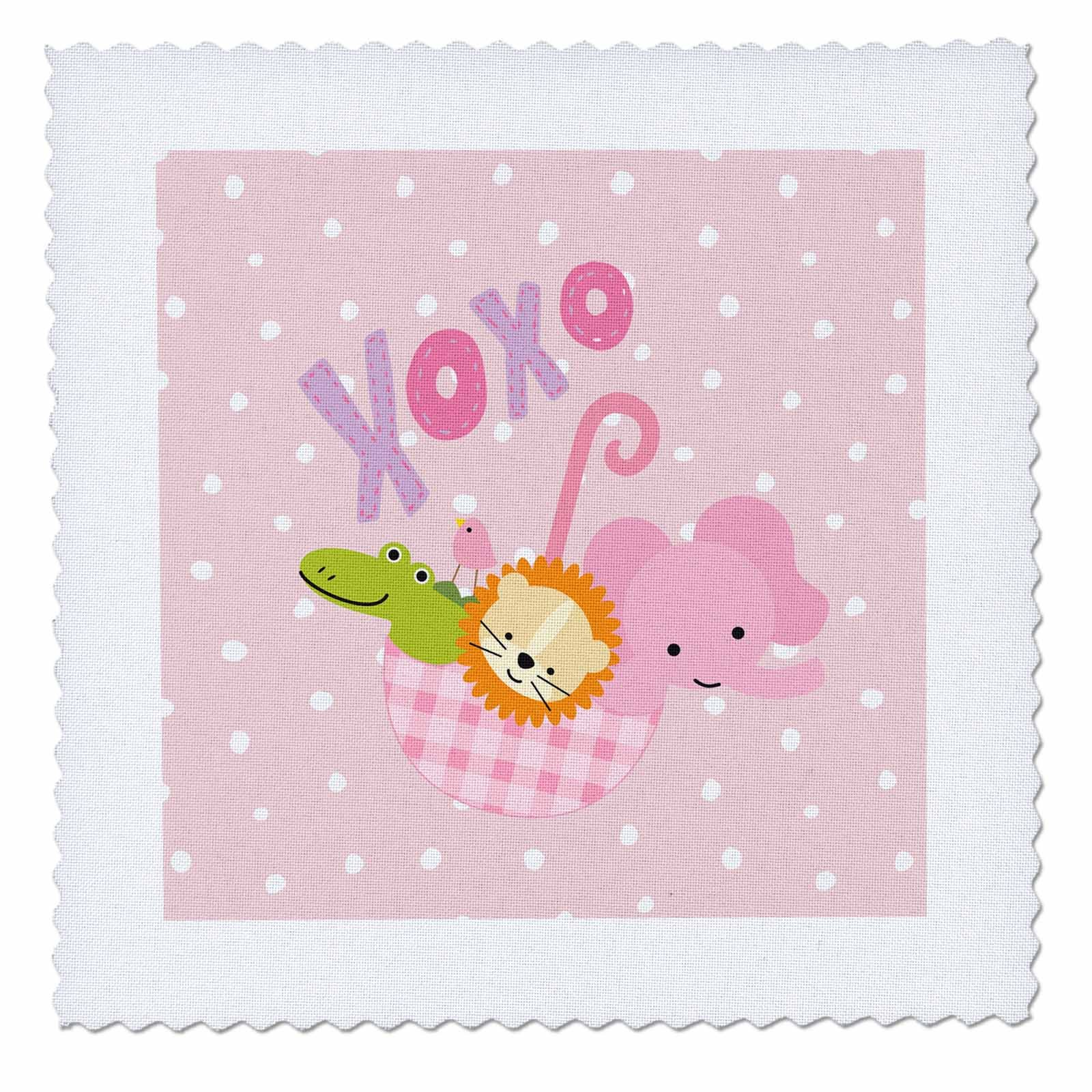3dRose Uta Naumann Sayings and Typography - Cute Children Illustration- Wild Animals on Pink Polkadots- XOXO - 22x22 inch quilt square (qs_275546_9)