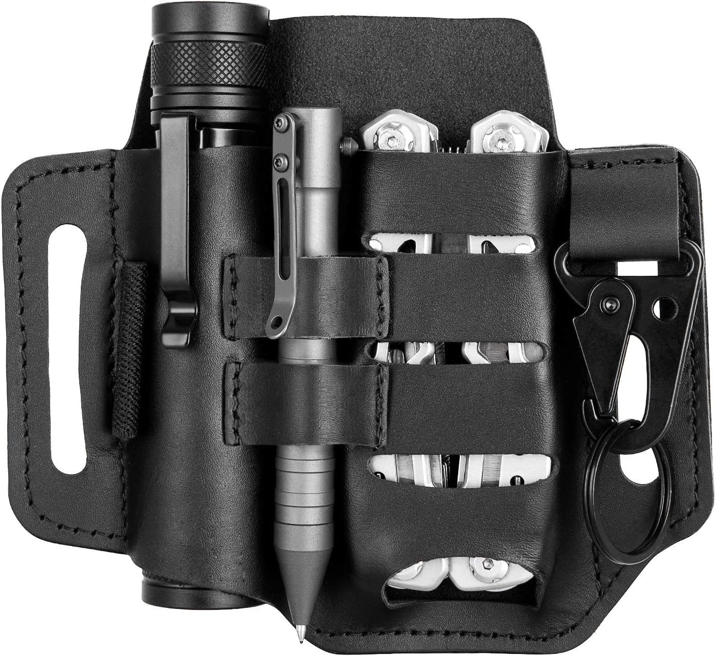 Multitool Sheath for Belt,Leather Multitool Pouch,EDC Pocket Organizer with Key Holder,EDC Leather Pouch,Leather Knife Sheaths Flashlight Holster (Black)