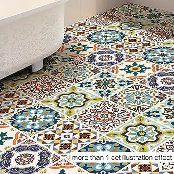 Yongqiang Bodenaufkleber Teppich Mediterraner Stil Wohnzimmer Badezimmer  Küche Rutschfest Wasserdicht Angebracht Teppich Verschleißfest Einfach Zu  Säubern