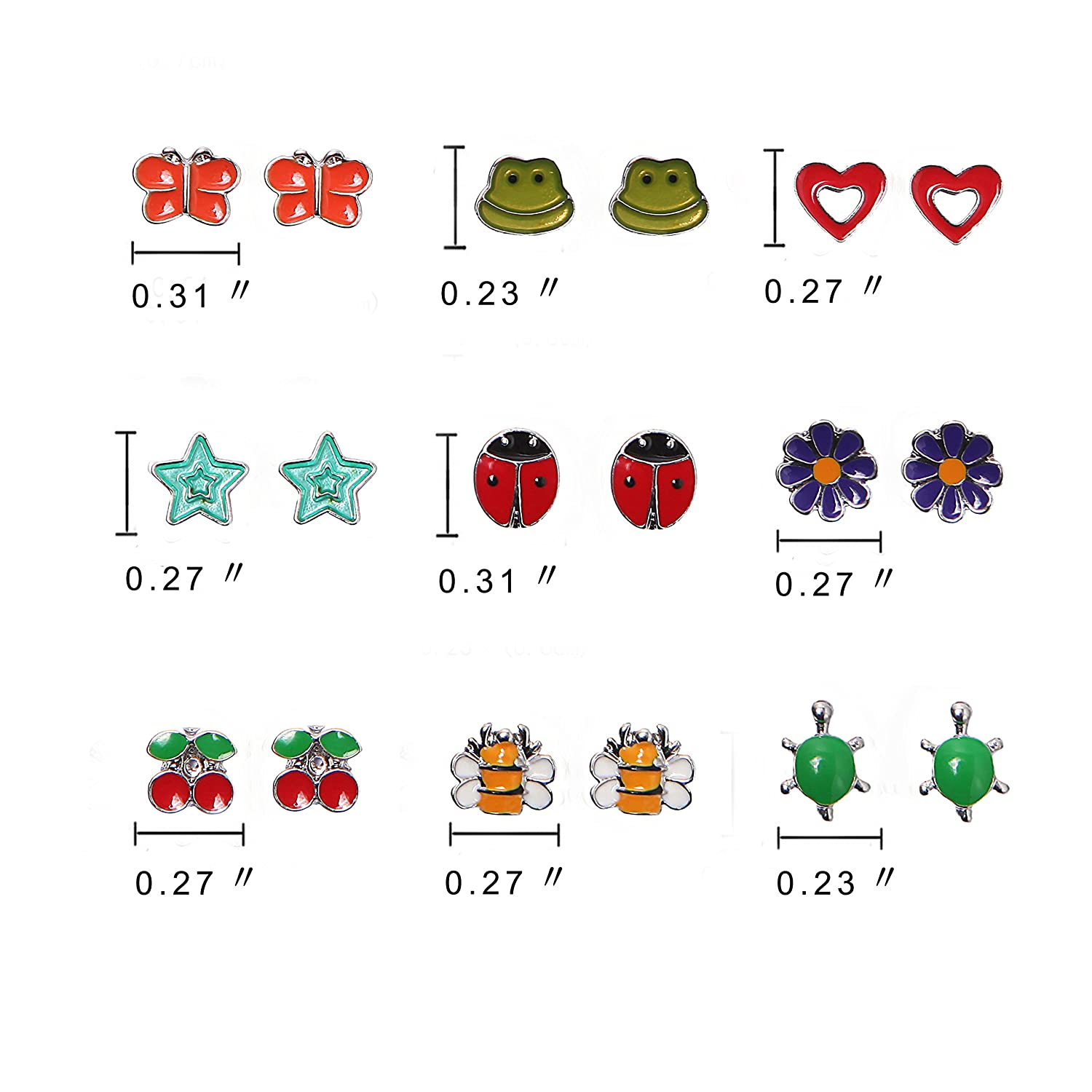c12578605 Amazon.com: Aganippe 9 Pairs Cute Fruit Animal Stud Earring Sets For Girls  kids, hypoallergenic: Jewelry