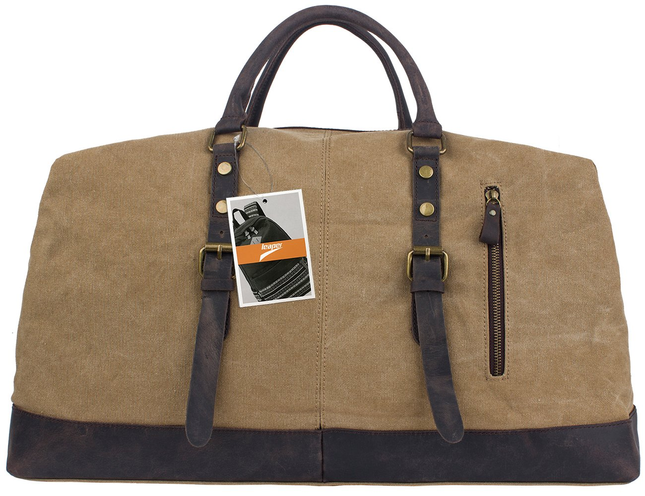 Leaper Mens Canvas Leather Travel Duffle Bag Sport Outdoor Holdall Overnight  Extra Large Weekender Satchel Hand Shoulder Bag 21.2 9 15.6inch Khaki  ... a2c7dc7515271