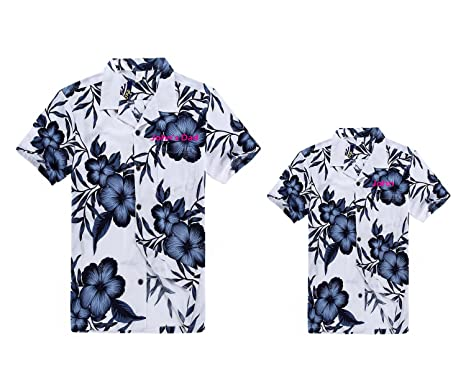 b66ba841 Matching Father Son Custom Embroidery Hawaiian Luau Outfit Men Shirt Boy  Shirt Navy Floral S-
