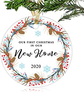 "NURIONSS Our First Christmas in Our New Home Ornaments 2020 - Christmas Wedding Decoration Gift for New Home New Homeowner New Apartment - 2.85"" Ceramic Ornament(New Home 10)"