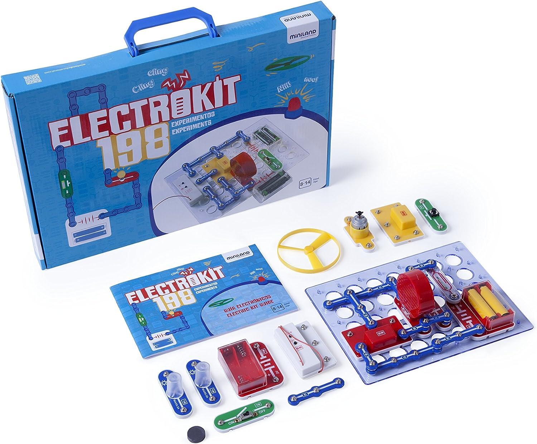 Miniland-Electrokit 198 Experimentos Kit de construcción de circuitos electrónicos para niños (99116): Amazon.es: Juguetes y juegos