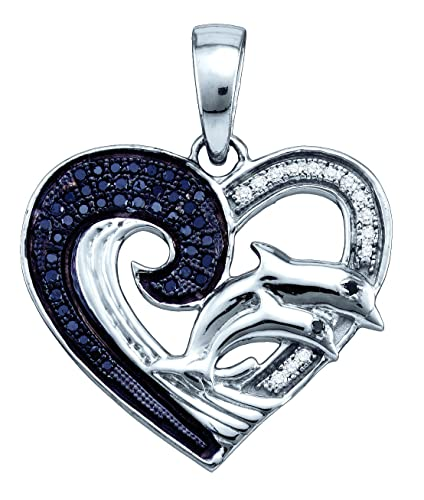 Sterling Silver Womens Round Black Colored Diamond Heart Dolphin Pendant 1/6 Cttw (I2-I3 clarity; Bl...
