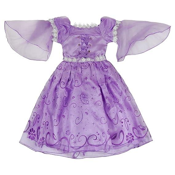 Katara - Disfraz de Princesa Rapunzel o de Sofía de Disney Vestido Color Violeta para niñas - Ideal para cumpleaños o Bodas: Amazon.es: Juguetes y juegos