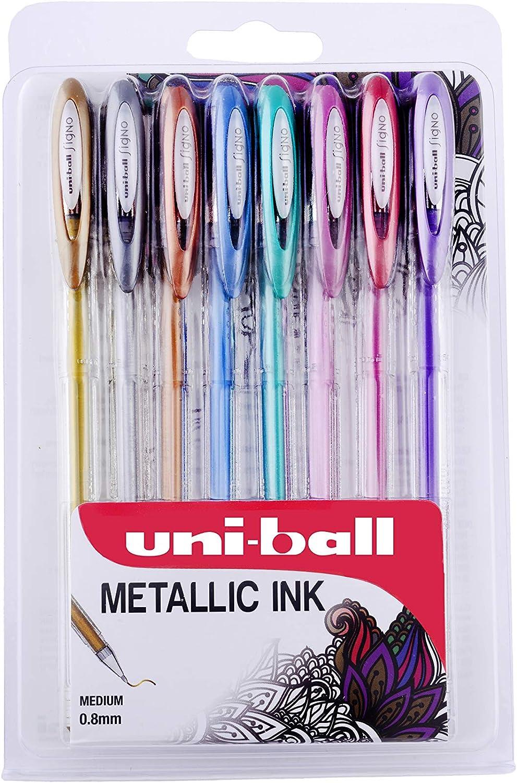 Uni-ball Signo Gel UM120 - Bolígrafo roller (tinta metálica, 8 unidades), varios colores: Amazon.es: Oficina y papelería