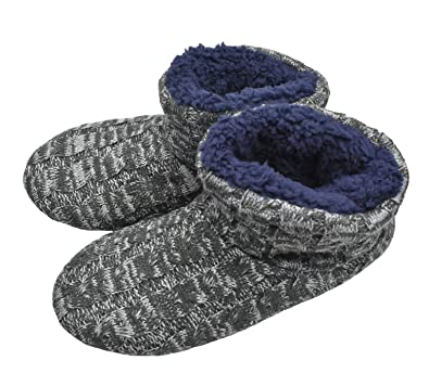 0f8a333e283f1 Knit Rock Wool Warm Men Indoor Pull on Cozy Memory Foam Slipper Boots with  Soft Rubber Sole
