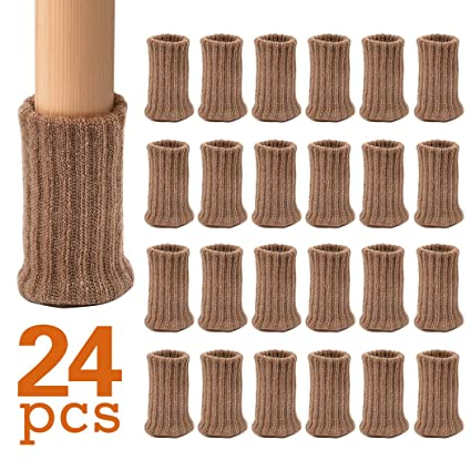 Upgrade Ezprotekt 24 PCS Chair Socks High Elastic Floor Protectors Non Slip Chair Leg Feet Socks Covers Furniture Caps Set Fit Diameter from 1 to 2,Knitted Furniture Pads(Beige)