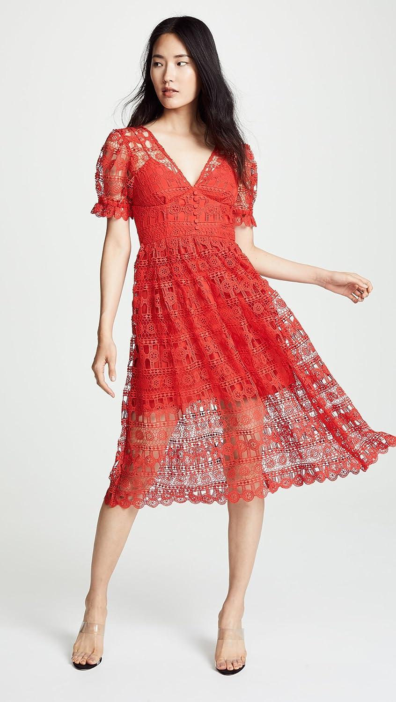 774d594a3932cd Amazon.com  Self Portrait Women s Red Lace Midi Dress  Clothing