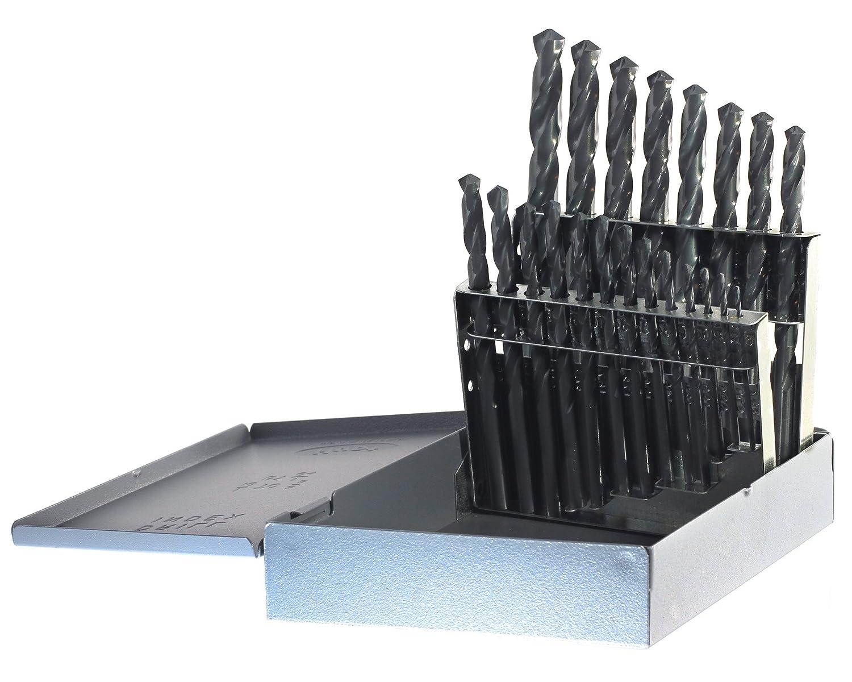 Drillco 400 Series 21 Piece High-Speed Steel Heavy-Duty Jobber Drill Bit Set 135 Degrees Split Point Spiral Flute Round Shank Black Oxide Finish 1//16-3//8 in 1//64 increments