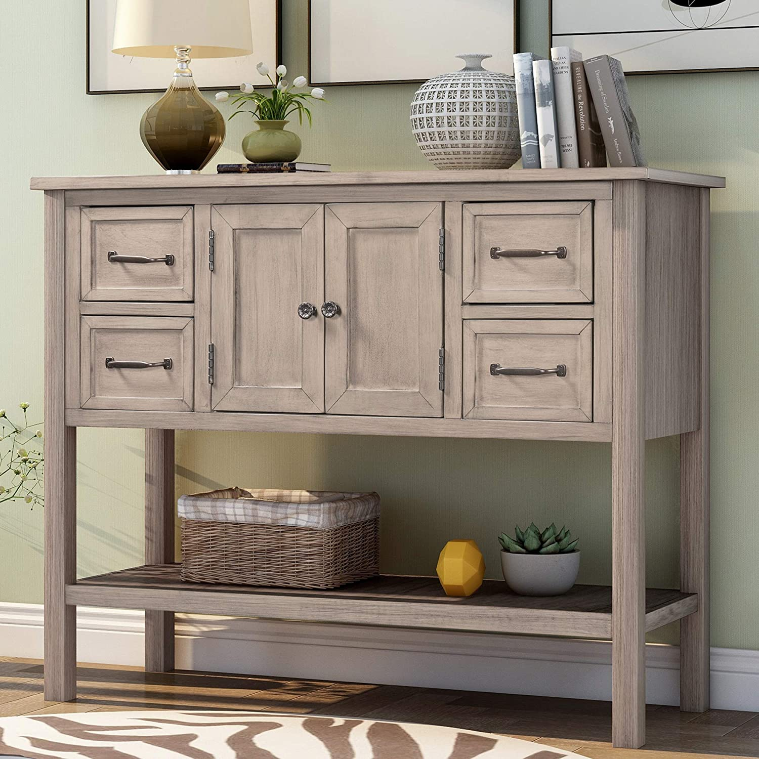 P PURLOVE Console Table Buffet Table Wood Buffet Storage Cabinet with Drawer and Bottom Shelf, Buffet Server for Living Room Kitchen Dining Room Furniture (More Light Brown)