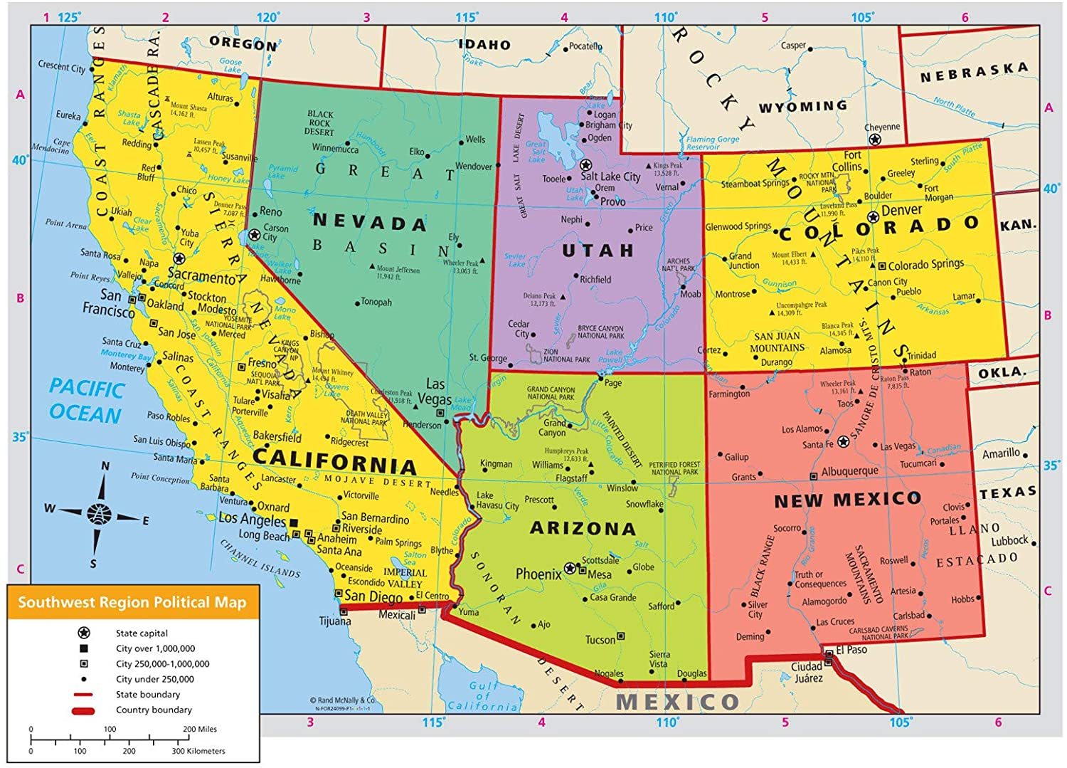 Map Of The Southwestern Us Amazon.com: Map   Us Western Region Road Map The Southwest General