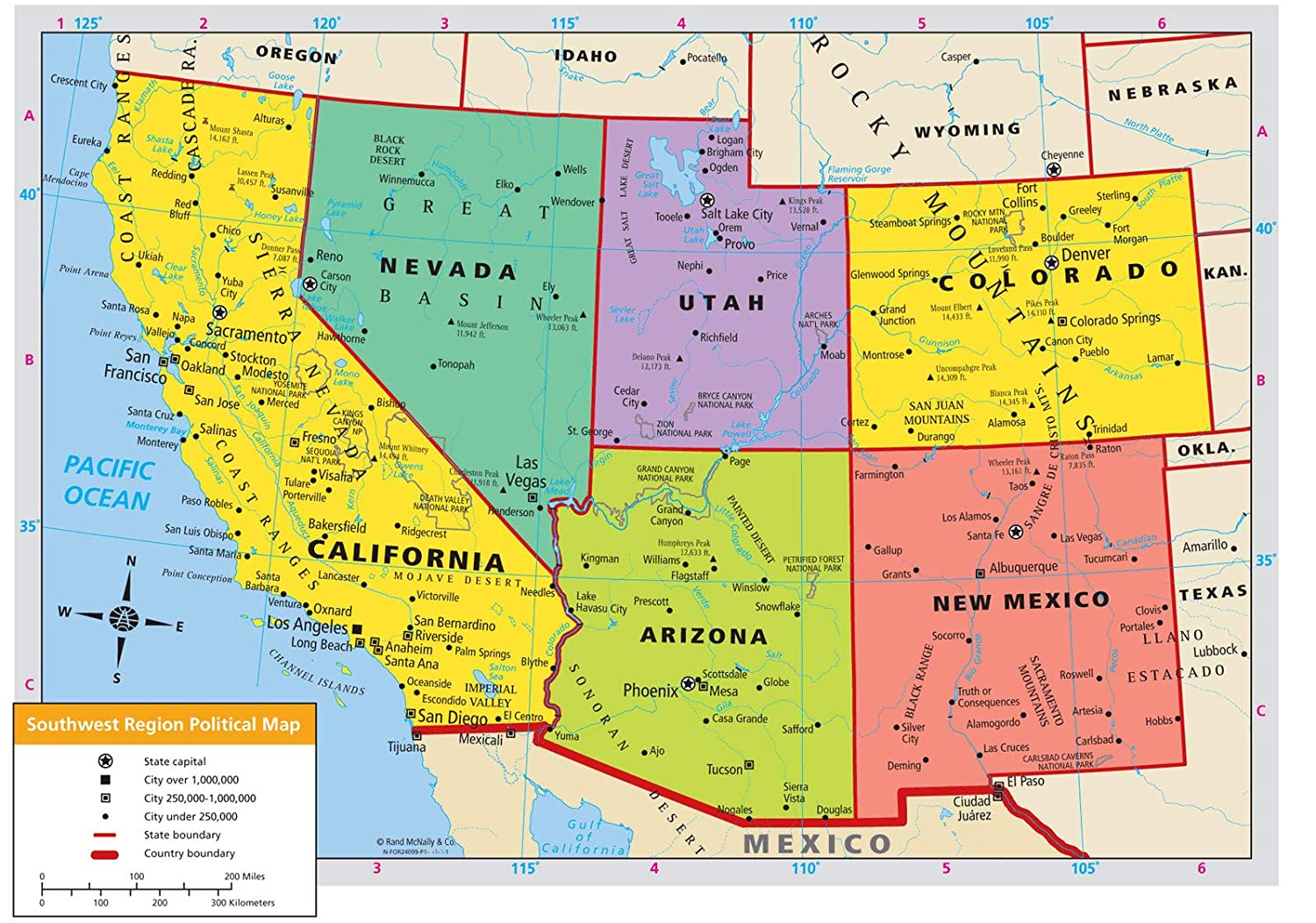 Amazon.com: Home Comforts Laminated Map - Us Western Region ...