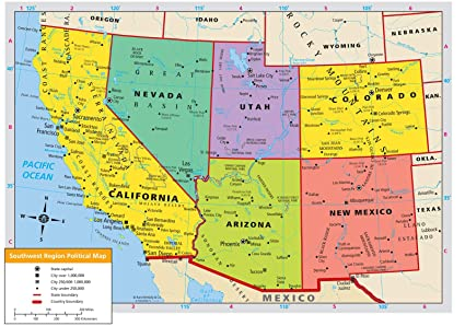 Amazoncom Home Comforts Laminated Map Us Western Region Road Map - Map-southwest-region-us