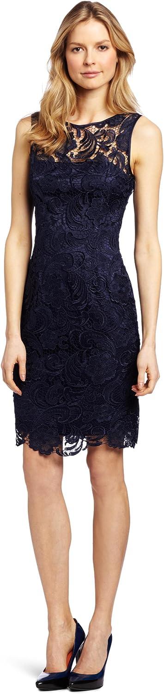 Adrianna Papell Womens Illusion Neckline Lace Dress Dress