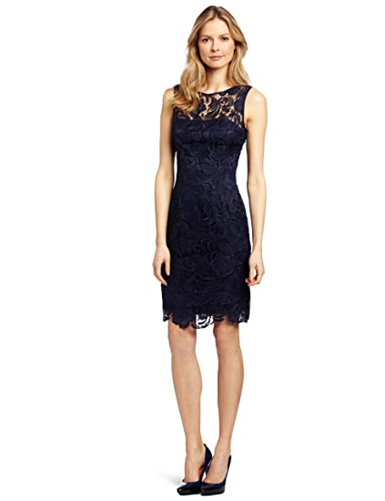 Adrianna Papell Illusion Neck Lace Dress 844943625ca