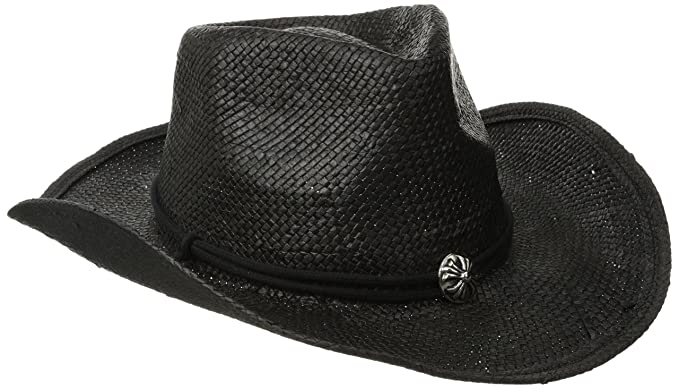 San Diego Hat Co. Men s Woven Paper Straw Cowboy Hat with Chin Cord and  Metal 9e65e03d64f