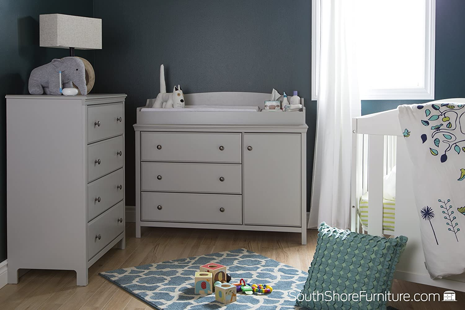 Stress less coloring by the shore - Amazon Com South Shore Cotton Candy Changing Table And 4 Drawer Chest Soft Gray Baby