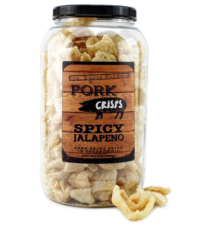 Keto-Friendly Jalapeño Chili Pork Rinds (Jalapeño Flavor, 8 Ounces); Hint of Spice Pork Crisps Fried in Coconut Oil, Zero Carb Snack