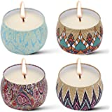 Cosyzone Scented Candles Gift Set-Lavender, Rose, Vanilla, Lemon, Natural Soy Wax Candle Use for Aromatherapy, Weddings, Travel Tins (4 Pack)