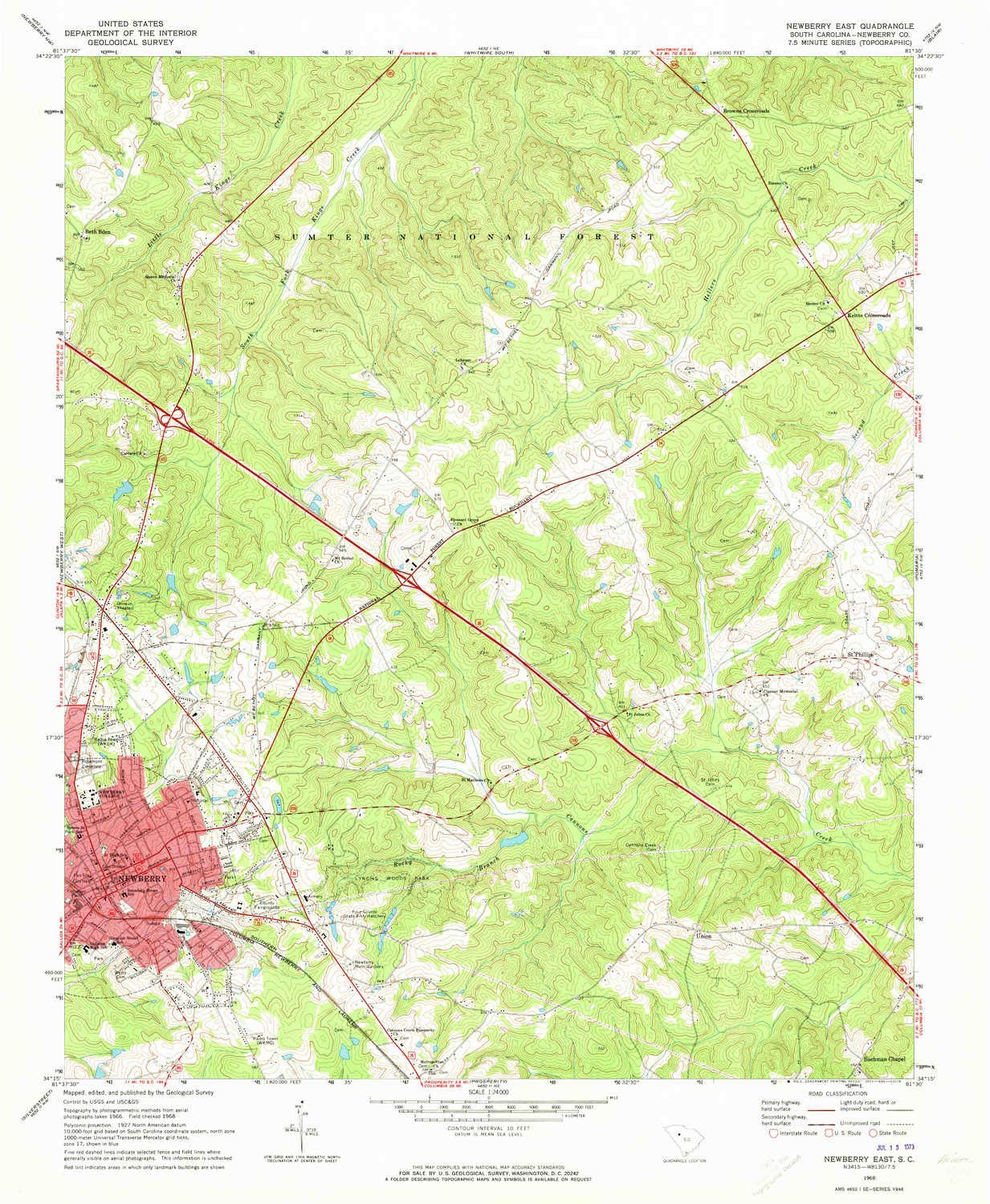 Amazon.com : YellowMaps Newberry East SC topo map, 1:24000 ... on city of clinton sc map, greenwood sc map, eleanor street newberry sc city map, south carolina wineries map,