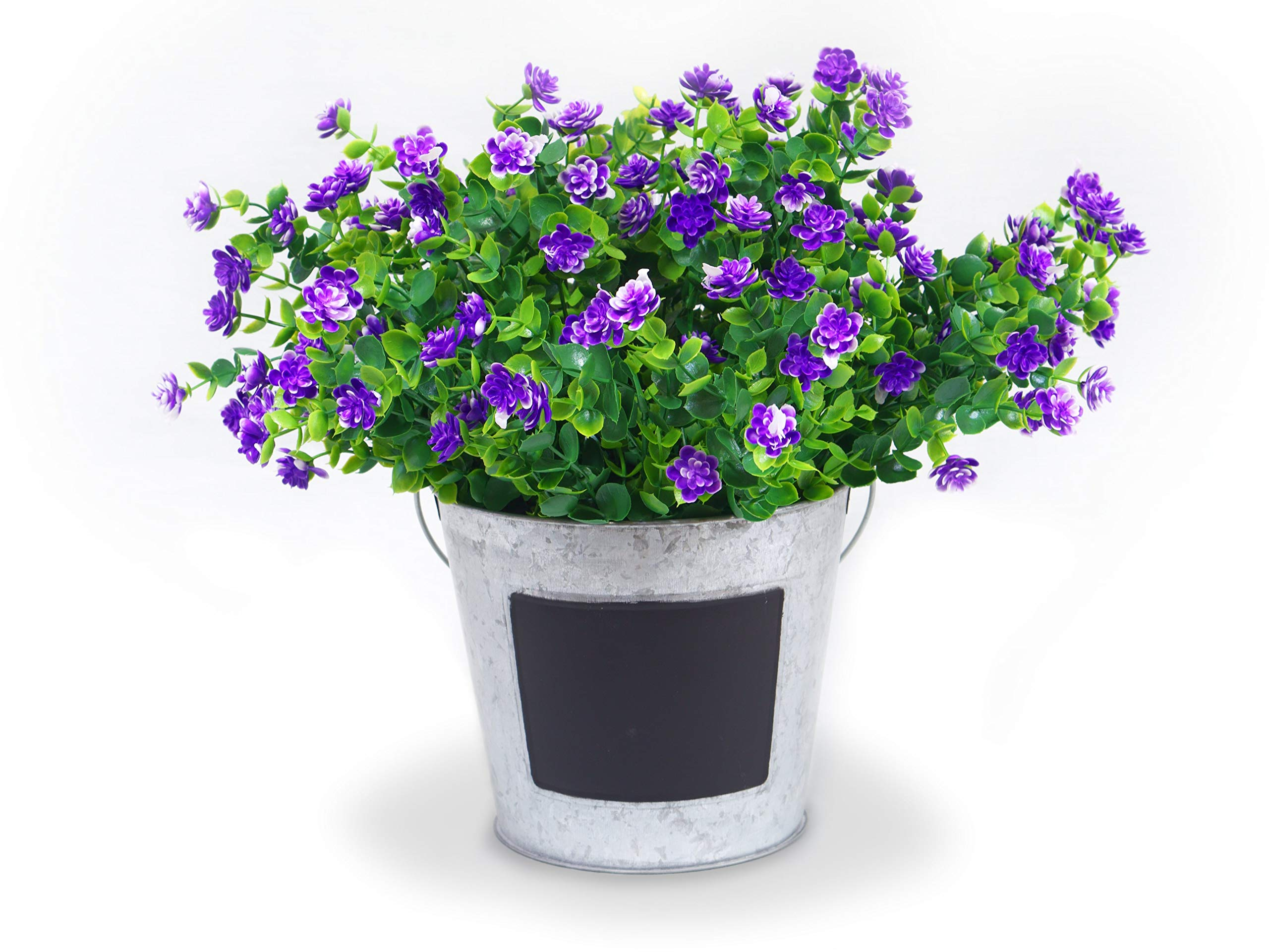 Forever Flowers Artificial Flower Shrubs for Indoor/Outdoor Decor | 6pk of UV Resistant Faux Plants for Your Home and Garden (Purple) by Forever Flowers